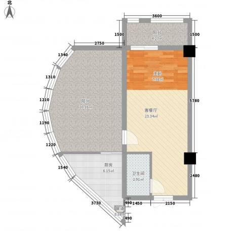 华银国际1厅1卫1厨88.00㎡户型图
