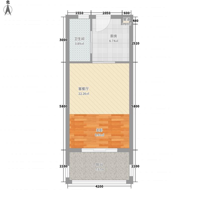 万泉明珠56.71㎡万泉明珠户型图2、5#楼D2户型1室1厅户型1室1厅