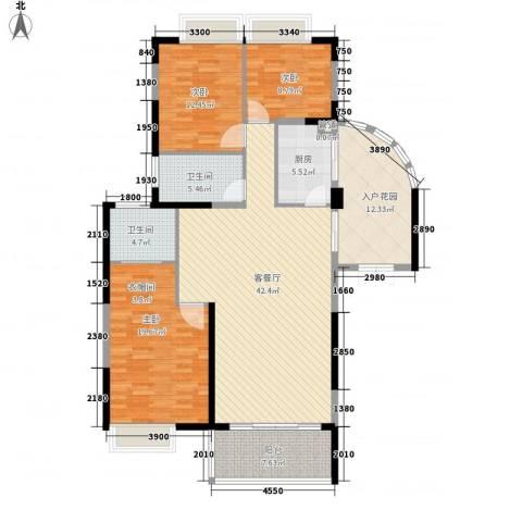 海岸南山3室1厅2卫1厨145.00㎡户型图