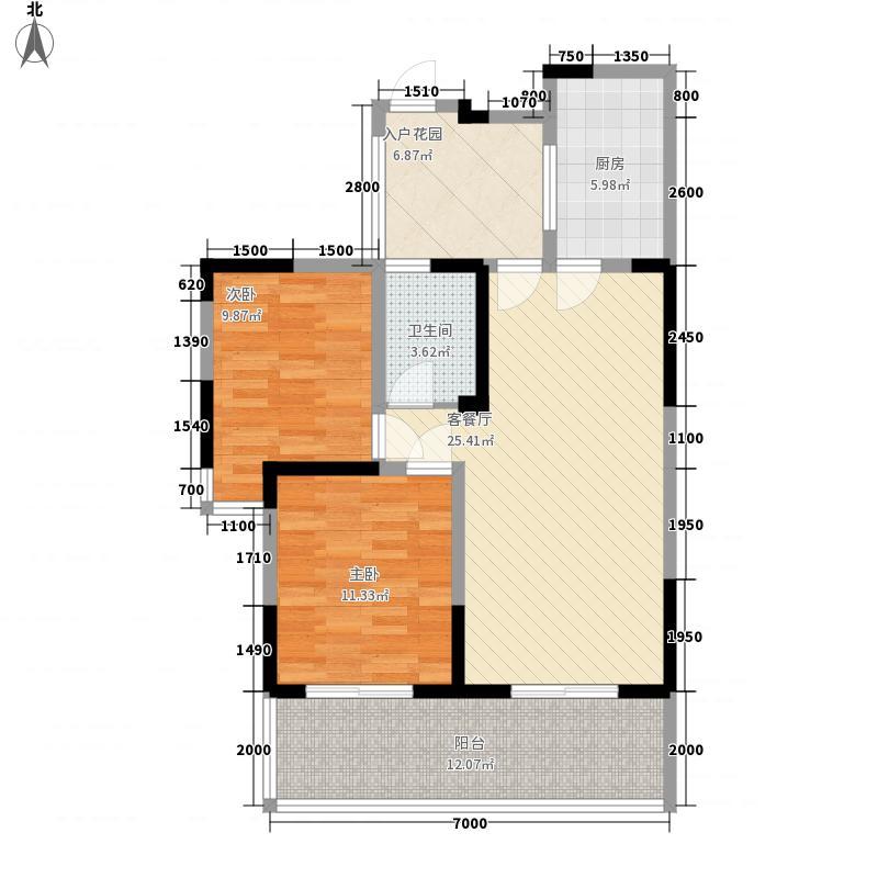 世家东部时空88.73㎡B5型偶数层户型2室2厅1卫1厨