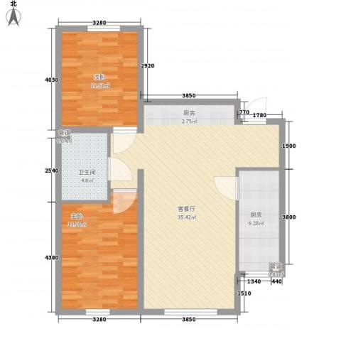 亿达天琴山2室1厅1卫1厨100.00㎡户型图