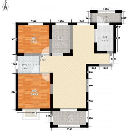 同盛南桥花园2室1厅1卫1厨100.00㎡户型图