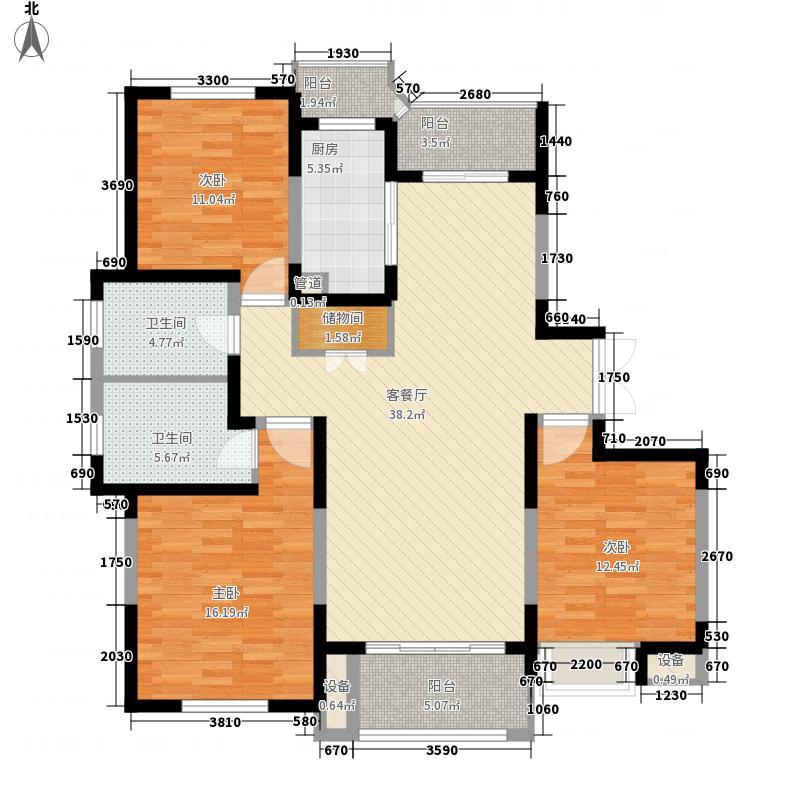大上海御龙湾户型图H户型 3室2厅2卫1厨