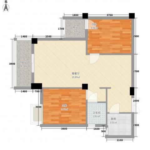 亿力悦海2室1厅1卫1厨61.69㎡户型图