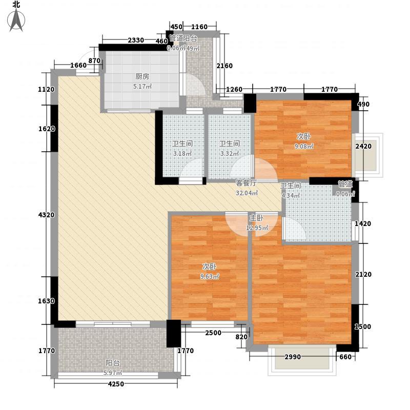 东方明珠126.40㎡13座04标准户户型3室2厅3卫
