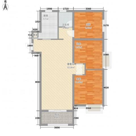 中海国际社区3室1厅1卫1厨105.00㎡户型图
