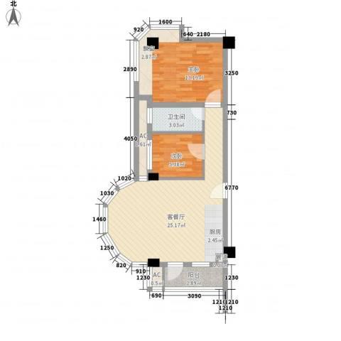 富川瑞园2室1厅1卫0厨76.00㎡户型图