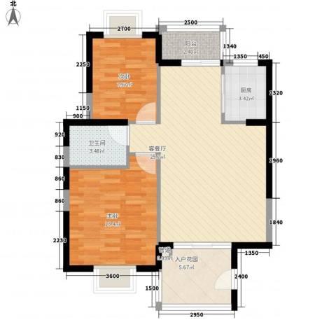未来海岸系天心岛2室1厅1卫1厨88.00㎡户型图