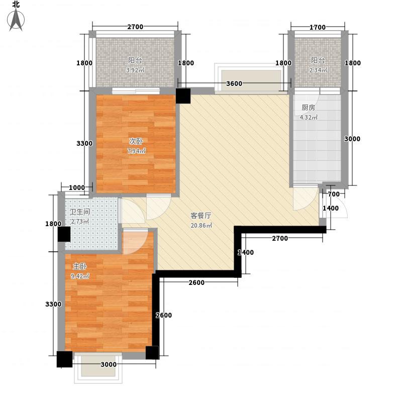 亿力悦海8.46㎡3梯4、7、10、13层01单元户型2室2厅1卫1厨
