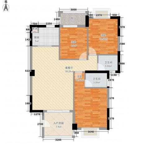 未来海岸系天心岛3室1厅2卫1厨122.00㎡户型图