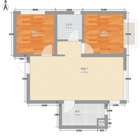 城市玫瑰园2室1厅1卫1厨68.00㎡户型图
