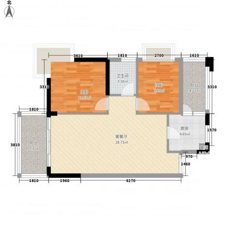 海岸南山2室1厅1卫1厨86.00㎡户型图