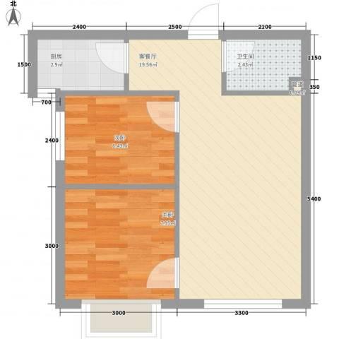 和嘉・佳园2室1厅1卫1厨57.00㎡户型图