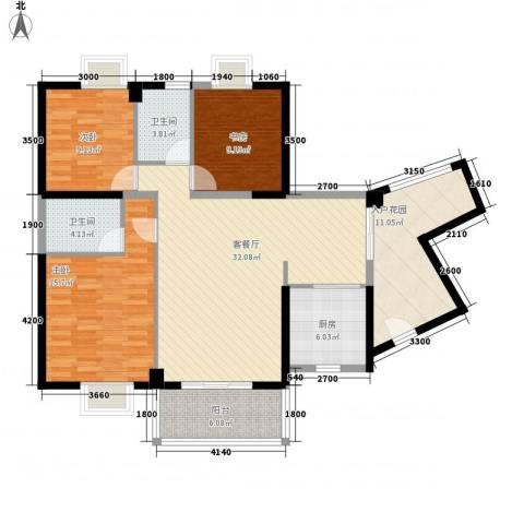 未来海岸系天心岛3室1厅2卫1厨126.00㎡户型图