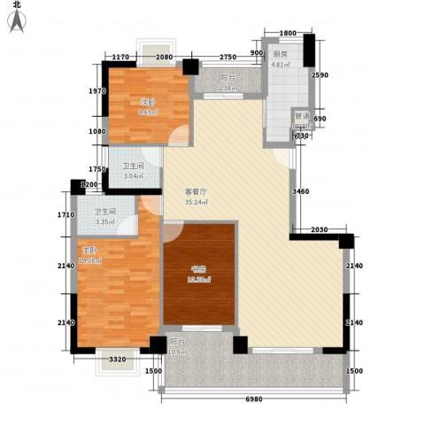 未来海岸系天心岛3室1厅2卫1厨127.00㎡户型图
