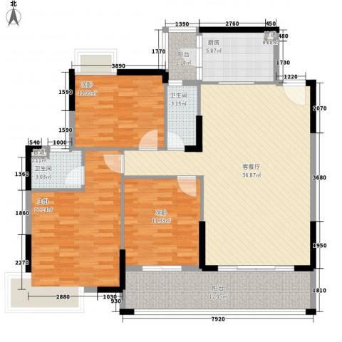 龙湾新城3室1厅2卫1厨122.00㎡户型图