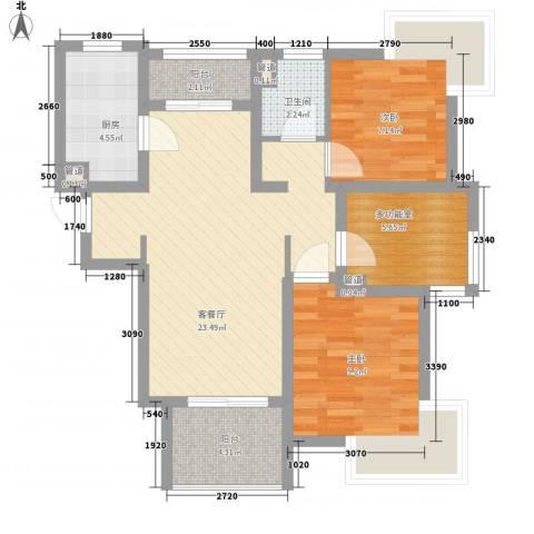 宝华海湾城2室1厅1卫1厨88.00㎡户型图