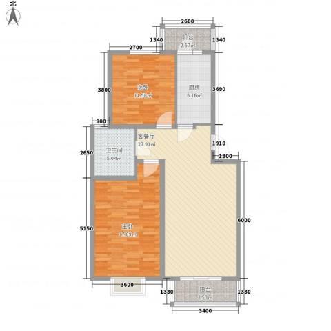 水榭华庭2室1厅1卫1厨96.00㎡户型图