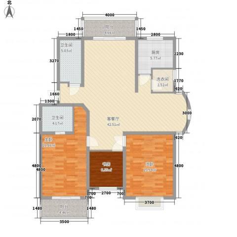 水榭华庭3室1厅2卫1厨153.00㎡户型图