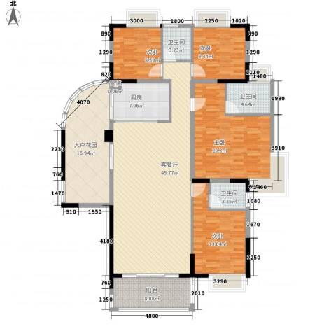 海岸南山4室1厅3卫1厨176.00㎡户型图