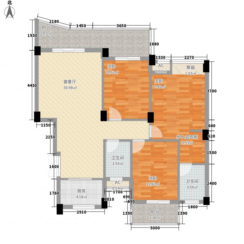 锦江名城峰景11.40㎡18#楼C6户型3室2厅2卫1厨