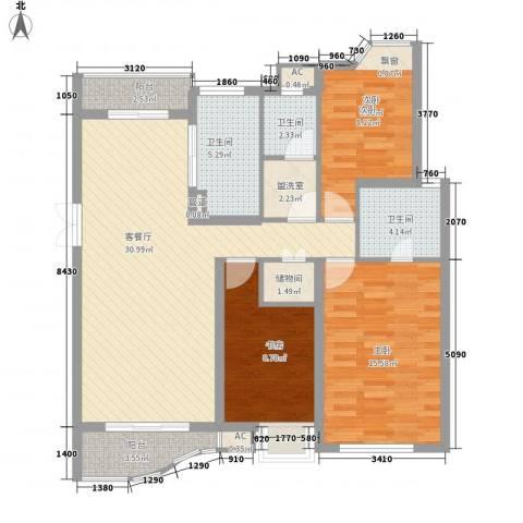 中铁人才家园3室1厅3卫0厨86.90㎡户型图