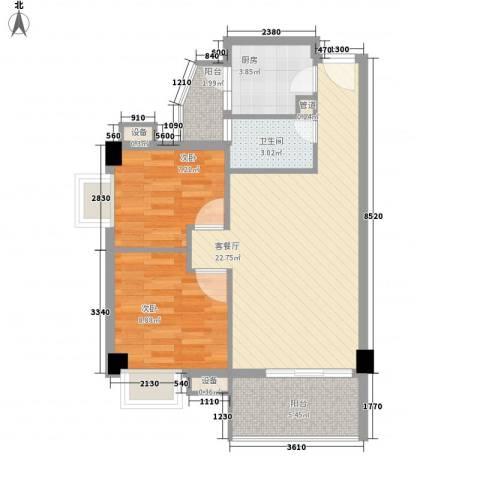 尚境雅筑2室1厅1卫1厨71.00㎡户型图