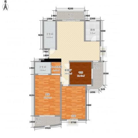 水榭华庭3室1厅2卫1厨141.00㎡户型图