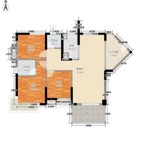 滨江公馆宾仕3室1厅2卫1厨88.75㎡户型图