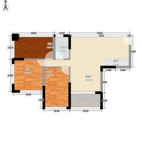 �海3室1厅1卫0厨82.00㎡户型图