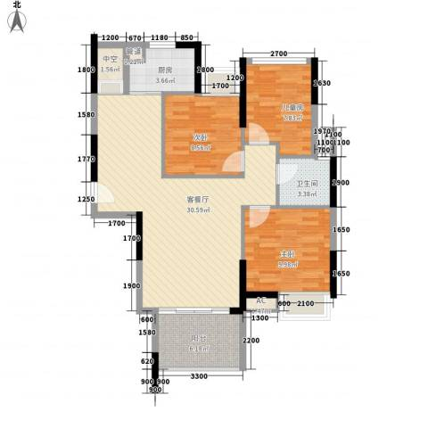滨江公馆宾仕3室1厅1卫1厨94.00㎡户型图