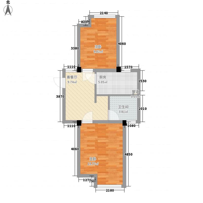 保利西塘越61.35㎡B25户型2室1厅1卫1厨