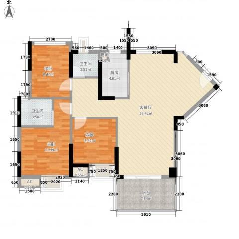 滨江公馆宾仕3室1厅2卫1厨87.89㎡户型图