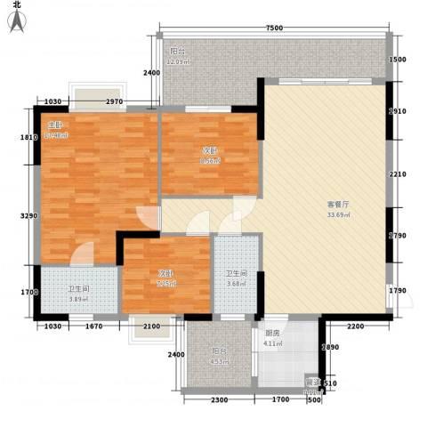 岭南世家3室1厅2卫1厨95.41㎡户型图