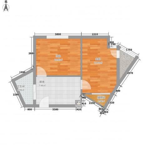 和嘉・佳园2室0厅1卫1厨56.00㎡户型图