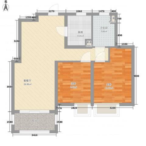 宝华海湾城2室1厅1卫1厨86.00㎡户型图