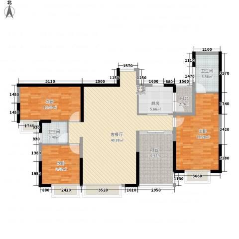 海岸南山3室1厅2卫1厨110.34㎡户型图