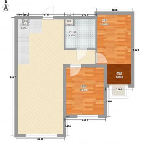 亿达天琴山2室1厅1卫0厨88.00㎡户型图