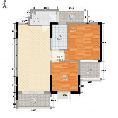 岭南世家2室1厅1卫1厨81.00㎡户型图