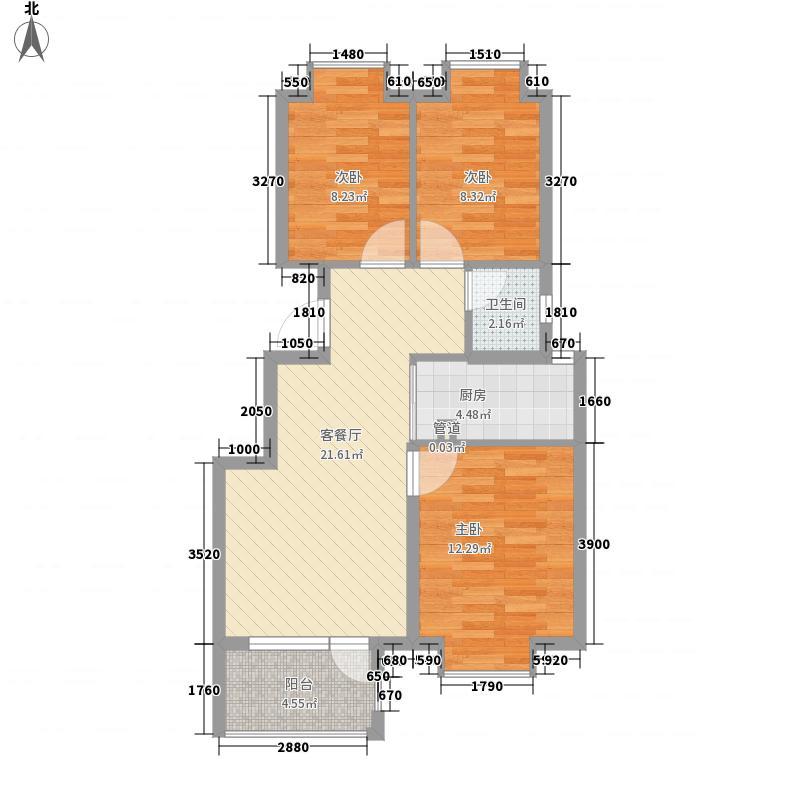 阿尔卡迪亚盛园88.58㎡D区4#楼标准层B户型3室2厅1卫1厨