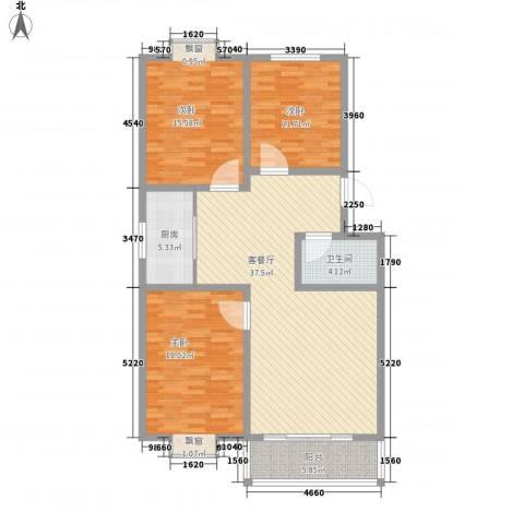 东方绿洲3室1厅1卫1厨139.00㎡户型图