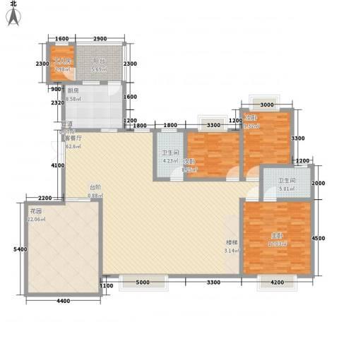 岭南世家3室1厅2卫1厨145.83㎡户型图