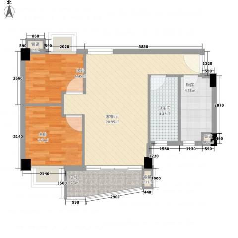 尚境雅筑2室1厅1卫1厨70.00㎡户型图