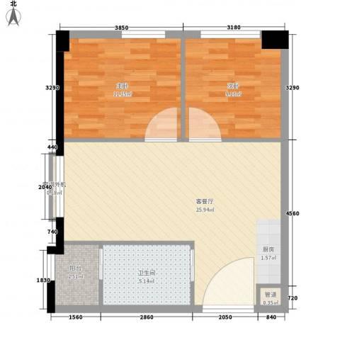 新西茗阁2室1厅1卫0厨77.00㎡户型图