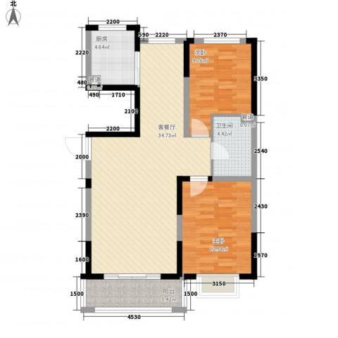 保利花园2室1厅1卫1厨72.07㎡户型图