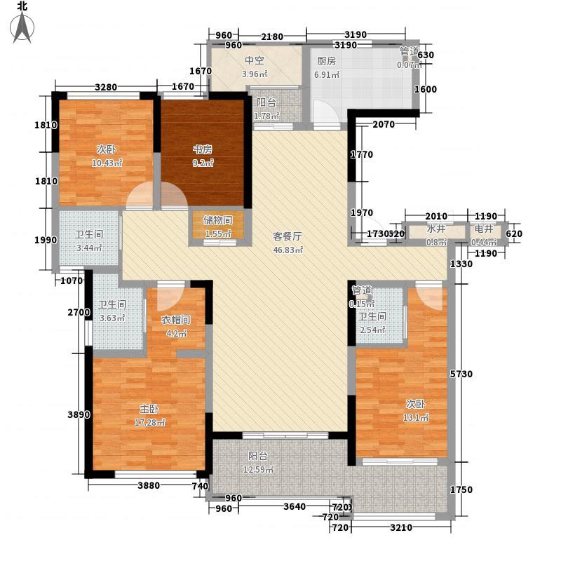 万濠华府194.20㎡万濠华府户型图11#标准层户型4室2厅3卫1厨户型4室2厅3卫1厨