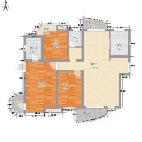 中铁人才家园3室1厅2卫1厨129.00㎡户型图