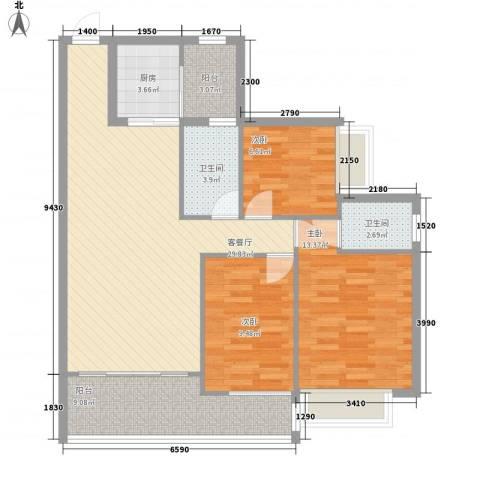美力百富雅苑二期3室1厅2卫1厨116.00㎡户型图