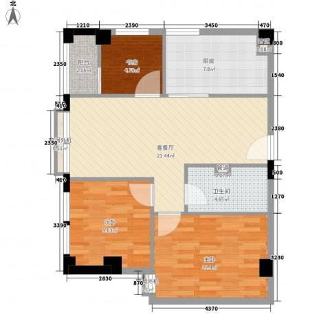 新西茗阁3室1厅1卫1厨90.00㎡户型图
