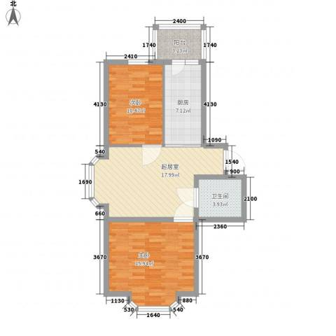 亿兴润景2室0厅1卫1厨84.00㎡户型图